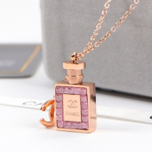 Chanel Pink Perfume Bottle Necklace