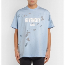 Givenchy men's suit, spring summer, old T-shirt, short sleeves, English pattern, hole T-shirt