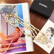 chanel long pearl necklac